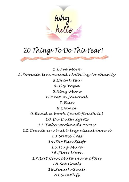 20 Things To Do This Year